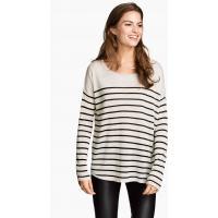 H&M Cienki sweter 0217234043 Jasnoszary/Paski