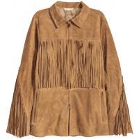 H&M Zamszowa kurtka z frędzlami 0326816001 Beżowy