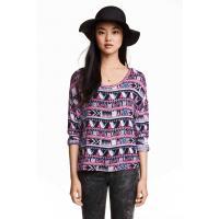 H&M Wzorzysty sweter 0319653003 Różowy/Miętowozielony