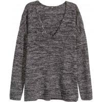 H&M Sweter w serek 0293657011 Czarny melanż