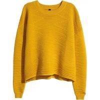 H&M Krótki sweter 0325543002 Musztardowożółty