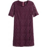 H&M Koronkowa sukienka 0318564007 Ciemna śliwka