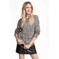H&M Sweter 0303770001 Czarny/Biały