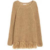 H&M Sweter z frędzlami 0346027004 Beżowy