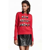 H&M Świąteczny sweter 0325005004 Czerwony/Napis