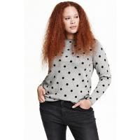 H&M H&M+ Cienki sweter 0292496016 Szary/Kropki