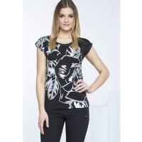 Monnari T-shirt z połyskującymi liśćmi TSH3750
