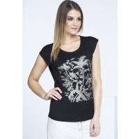 Monnari T-shirt ze złotymi palmami TSH0700