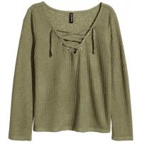 H&M Fine-knit top with lacing 0382746003 Khaki green