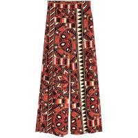 H&M Szerokie spodnie z rozcięciem 0381338001 Czerwony/Wzór