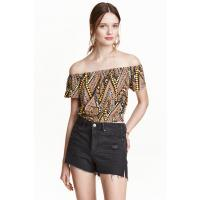 H&M Off-the-shoulder crop top 0383623003 Orange/Patterned