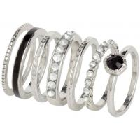 H&M Pierścionki 7-pak 0222246011 Silver/Black