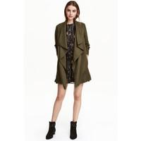 H&M Drapowany płaszcz 0320686004 Zieleń khaki