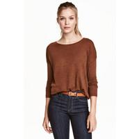 H&M Cienki sweter 0363505019 Rdzawy