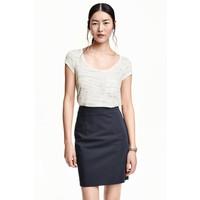 H&M Dżersejowy top 0398613006 Biały melanż