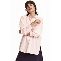 H&M Bawełniana koszula oversize 0430655004 Pudroworóżowy