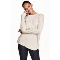 H&M Cienki sweter 0390125022 Jasnobeżowy melanż