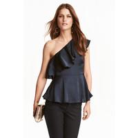 H&M Top na jedno ramię 0400857003 Ciemnoniebieski