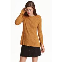 H&M Sweter w prążki 0390157005 Żółty melanż