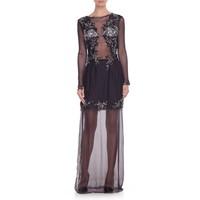 JAP Suknia z koronki zdobionej kamieniami czarna