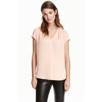 H&M Satynowa bluzka 0401485002 Pudrowy