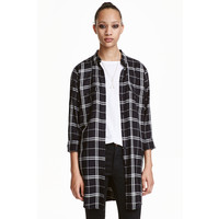 H&M Długa koszula 0398620005 Krata/Czarny