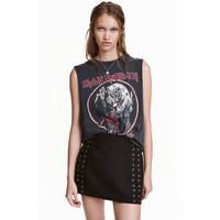 H&M Koszulka z nadrukiem 0257600016 Czarny