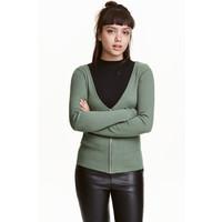 H&M Kardigan z suwakiem 0425796005 Jasna zieleń khaki