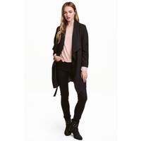H&M Drapowany płaszcz 0320686007 Czarny