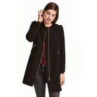 H&M Krótki płaszcz 0390169002 Czarny