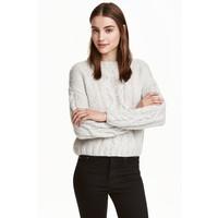 H&M Sweter w warkoczowy splot 0405586003 Jasnoszary
