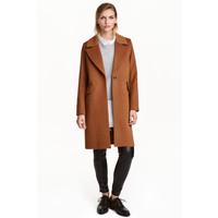 H&M Krótki płaszcz z wełną 0397438001 Ciemny camel
