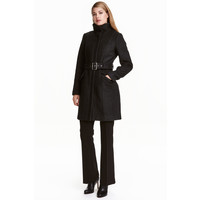 H&M Krótki płaszcz z wełną 0417642004 Czarny