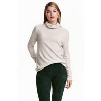 H&M Kaszmirowy sweter z golfem 0402724003 Jasnoszary melanż