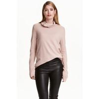 H&M Kaszmirowy sweter z golfem 0402724003 Pudroworóżowy melanż
