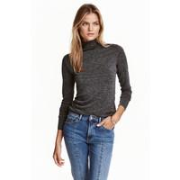 H&M Cienki sweter z półgolfem 0413538011 Ciemnoszary melanż