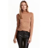 H&M Cienki sweter z półgolfem 0413538011 Beżowy melanż