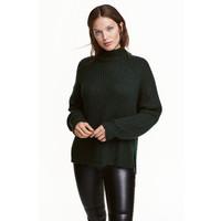 H&M Sweter z półgolfem 0428591002 Ciemnozielony melanż
