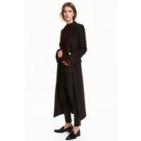 H&M Długi płaszcz 0405978001 Czarny