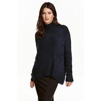 H&M Dzianinowy sweter z golfem 0428705003 Ciemnoniebieski melanż