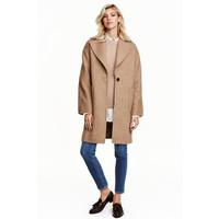 H&M Płaszcz z domieszką wełny 0442185001 Beżowy