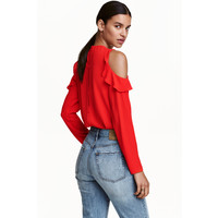 H&M Bluzka cold shoulder z krepy 0430511005 Czerwony