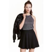 H&M Brokatowy top na ramiączkach 0420937002 Srebrny