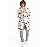 H&M Płaszcz z domieszką wełny 0444887001 Naturalna biel/Krata