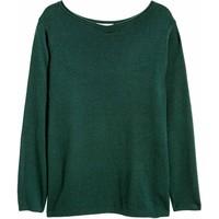 H&M H&M+ Cienki sweter 0292496016 Ciemnozielony