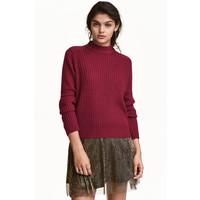 H&M Sweter w prążki 0405442001 Ciemnoczerwony