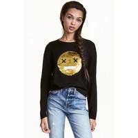 H&M Świąteczny sweter z cekinami 0428993001 Czarny/Emotikon