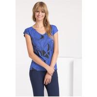 Monnari T-shirt z kwiatowym wzorem i dżetami TSHIMP0-16J-TSH4490-KM12D004-R0S