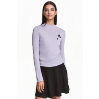 H&M Sweter w prążki 0453762002 Jasny lawendowoniebieski
