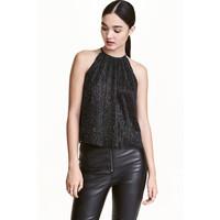H&M Brokatowy top na ramiączkach 0434719002 Czarny/Srebrny
